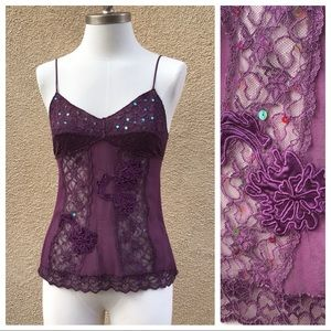 Forever 21 100% Silk/Lace/Sequin Camisole S